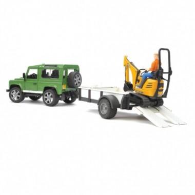 Игрушка Bruder 02-593 Внедорожник Land Rover Defender c прицепом-платформой, гусеничным мини экскаватором 8010 CTS и рабочим