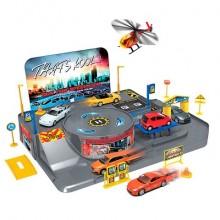 """Игровой набор """"Гараж"""" с 3 машинками и вертолетом"""