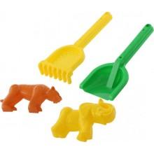 57594 Набор для песочницы №566 Лопатка, грабельки, формочки(тигр+мамонт)