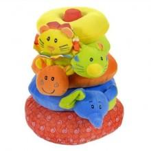 I-BABY Развивающая игрушка пирамидка ДРУЗЬЯ ИЗ ДЖУНГЛЕЙ 23 см  B-7202