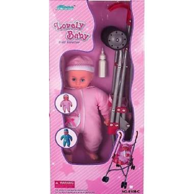 FEI LI TOYS Кукольная коляска+кукла W.13, 37,5*30*62cm, розовый