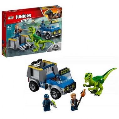 Lego Juniors Конструктор Лего Jurassic World Грузовик спасателей для перевозки раптора
