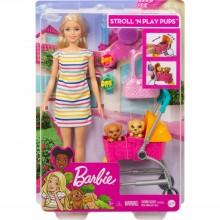 Barbie Барби с щенками в коляске GHV92