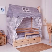 Комплект в кроватку INCANTO  Домик серый  00-92984