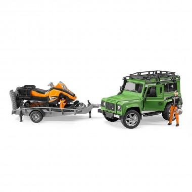 Внедорожник Bruder Land Rover Defender с прицепом, снегоходом и водителем