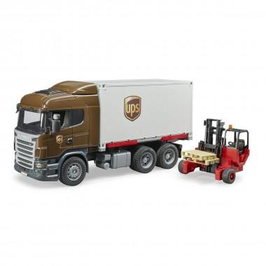 Scania фургон UPS Bruder с погрузчиком и паллетами