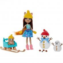 Enchantimals Белка Шарлотта с питомцем Насти и снеговиком GNP16