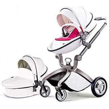 Детская коляска 2в1 Hot Mom F22 белый-красный, эко-кожа