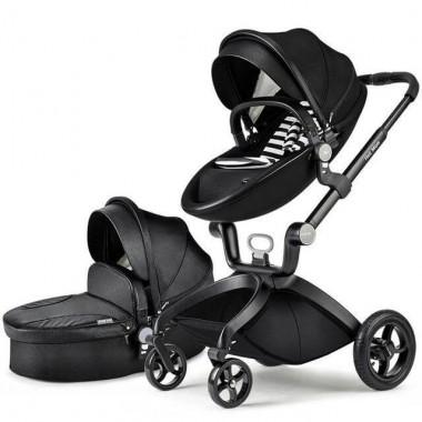Детская коляска 2в1 Hot Mom F22 эко-кожа черный