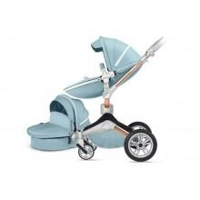 Детская коляска 2в1 Hot Mom 360º F23 бирюза, экокожа