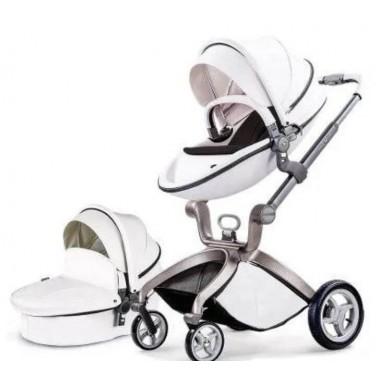 Детская коляска 2в1 Hot Mom F22 белый черный матрасик, экокожа