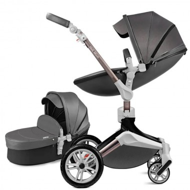 Детская коляска 2в1 Hot Mom 360º F23 DARK GREY Экокожа