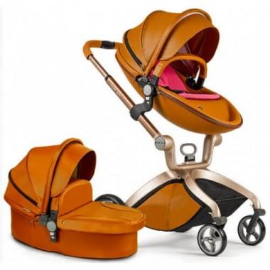 Детская коляска 2в1 Hot Mom F22 коричневый, экокожа