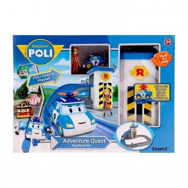 Robocar Poli Подъемник с металлической машинкой Поли и фигуркой Джин