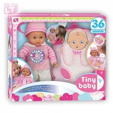 Tiny Baby - Подарочный набор - Плачущий мягкий пупс, 30см, удобный рюкзак-переноска, try me